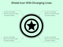 Shield Icon With Diverging Lines