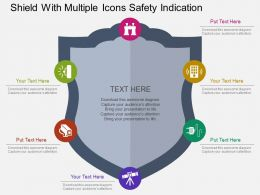Shield With Multiple Icons Safety Indication Flat Powerpoint Design