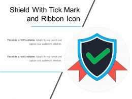 Shield With Tick Mark And Ribbon Icon
