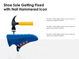Shoe Sole Getting Fixed With Nail Hammered Icon
