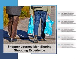 Shopper Journey Men Sharing Shopping Experience