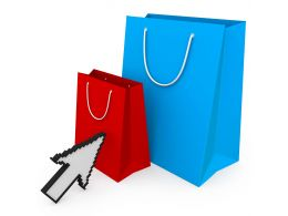 Shopping Bag With Online Shopping Concept Stock Photo