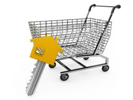 Shopping Cart And Key With House Design Head For Real Estate And Marketing Stock Photo