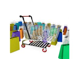 Shopping Cart And Multicolor Shopping Bags Stock Photo