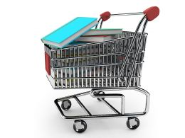Shopping Cart Full Of Books For Education And Knowledge Stock Photo
