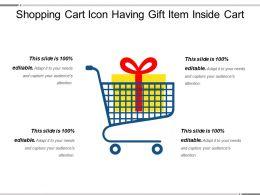 Shopping Cart Icon Having Gift Item Inside Cart