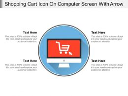 Shopping Cart Icon On Computer Screen With Arrow