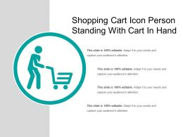 Shopping Cart Icon Person Standing With Cart In Hand