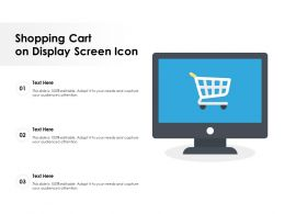 Shopping Cart On Display Screen Icon