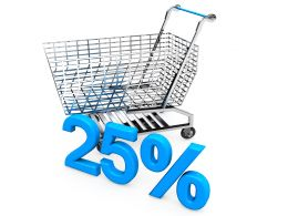 Shopping Cart With 25 Percent To Display Marketing Stock Photo