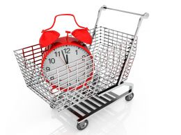 Shopping Cart With Clock For Timely Shopping Concept Stock Photo