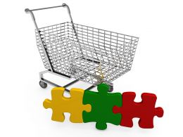 Shopping Cart With Colored Puzzle Stock Photo