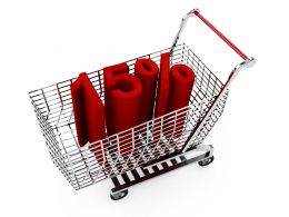 Shopping Cart With Fifteen Percent Discount Stock Photo