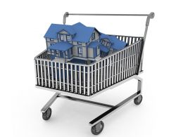 Shopping Cart With Houses For Real Estate And Marketing Stock Photo