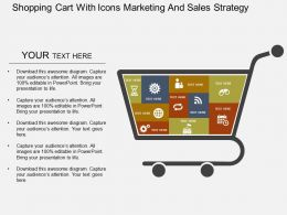 Shopping Cart With Icons Marketing And Sales Strategy Flat Powerpoint Design