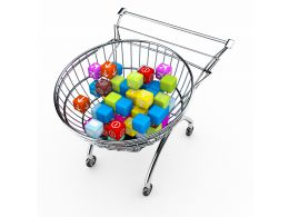 Shopping Cart With Multicolor Cubes Stock Photo