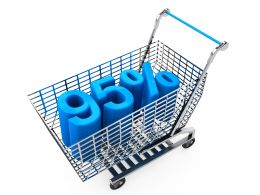 Shopping Cart With Ninety Five Percent Discount Stock Photo