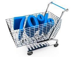 Shopping Cart With Seventy Percent Discount For Sales And Marketing Stock Photo