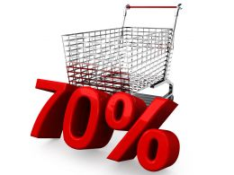 Shopping Cart With Seventy Percent Discount Sale Stock Photo