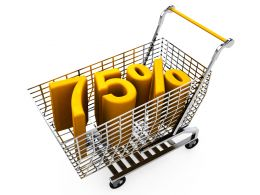 Shopping Cart With Seventyfive Percent Discount In Sale Stock Photo