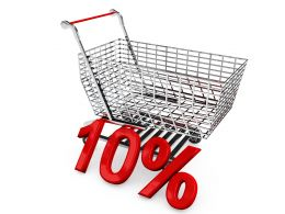 Shopping Cart With Ten Percent Discount Sale Stock Photo