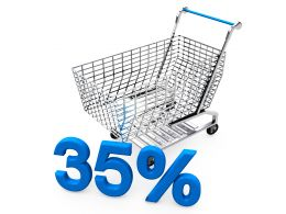 Shopping Cart With Thirty Five Percent Discount Stock Photo