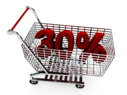 Shopping Cart With Thirty Percent Discount For Sale Stock Photo