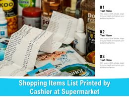 Shopping Items List Printed By Cashier At Supermarket