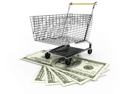Shopping Trolley On Dollars To Display Money And Marketing Concept Stock Photo