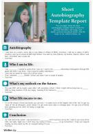 Short Autobiography Template Report Presentation Report Infographic PPT PDF Document