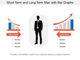 Short Term And Long Term Man With Bar Graphs