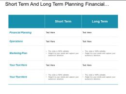 Short Term And Long Term Planning Financial Operations Marketing
