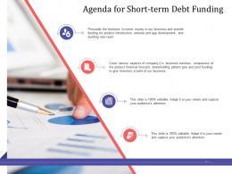 Short Term Debt Funding Pitch Deck Agenda For Short Term Debt Funding Development Ppt Slideshow