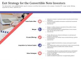 Short Term Debt Funding Pitch Deck Exit Strategy For The Convertible Note Investors Investment Ppt Icons