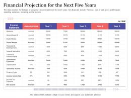 Short Term Debt Funding Pitch Deck Financial Projection For The Next Five Years Revenue Ppt Slides
