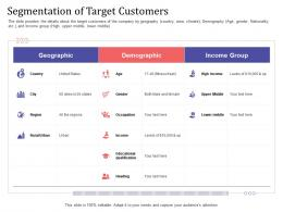 Short Term Debt Funding Pitch Deck Segmentation Of Target Customers Income Ppt Infographics