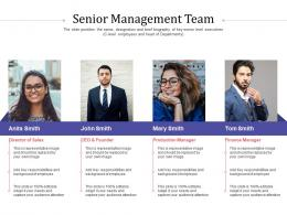Short Term Debt Funding Pitch Deck Senior Management Team Production Ppt Display