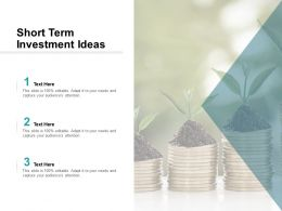 Short Term Investment Ideas Ppt Powerpoint Presentation Infographics Cpb