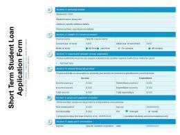 Short Term Student Loan Application Form