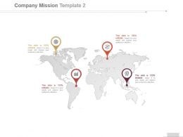 Showing Geographic Mission For A Company By World Map Ppt Slides