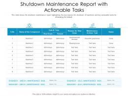 Shutdown Maintenance Report With Actionable Tasks