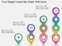 si Four Staged Linear Bar Graph With Icons Flat Powerpoint Design