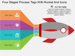 Si Four Staged Process Tags With Rocket And Icons Flat Powerpoint Design