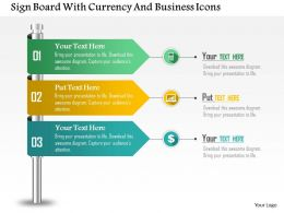 Sign Board With Currency And Business Icons Powerpoint Template
