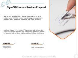Sign Off Concrete Services Proposal Ppt Powerpoint Presentation Outline Aids