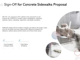 Sign Off For Concrete Sidewalks Proposal Ppt Powerpoint Presentation Background Designs
