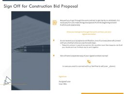 Sign Off For Construction Bid Proposal Ppt Powerpoint Presentation Icon Show