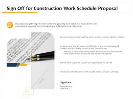 Sign Off For Construction Work Schedule Proposal Ppt Ppt Powerpoint Presentation Visuals