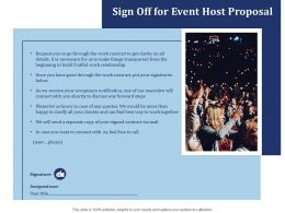 Sign Off For Event Host Proposal Ppt Powerpoint Presentation Styles Background