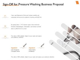 Sign Off For Pressure Washing Business Proposal Ppt Powerpoint Presentation Icons